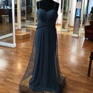 Slate grey full length bridesmaid dress